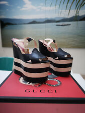 GUCCI NAVY/WHITE LEATHER SALLY PLATFORM SANDALS WEDGES SHOES - size 38
