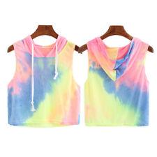 Fashion Women Casual Summer Blouse Vest Tank Sleeveless Hooded Crop Tops T-Shirt