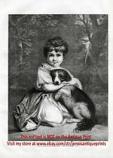 Dog Cocker Spaniel Puppy Snuggling with Beautiful Girl Large 1870s Antique Print