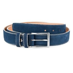 Blue suede belt Genuine leather White edges Navy Men's belts Fashion Casual 36""