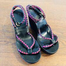 MIU MIU Prada Size 37 Black Suede Pink Strap Heel Platform Wedges Sandals Italy
