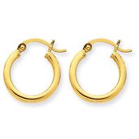 10k Yellow Gold 2mm X 15mm Round Tubular Polished Hoop Earrings