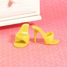 Vintage Barbie Dark Yellow Open Toe Heels OT Shoes Golden Evening 1963 EXLNT
