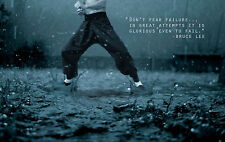 Framed Print - Bruce Lee Practising Martial Arts in the Rain (Picture Poster Art