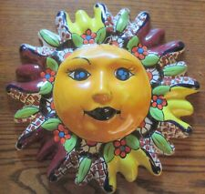 Mexican Talavera Ceramic Sun Face Wall Decor Hanging Pottery Folk Art