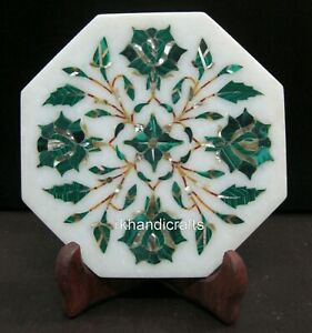 Malachite Stone Inlay Collectible Plate Octagon Marble Decorative Plate 05 Inch