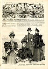 French MODE ILLUSTREE SEWING PATTERN Sept 23,1894 Corset, ladies & child dresses