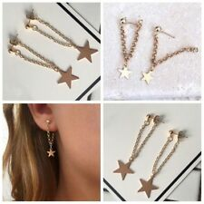 1Pair Minimalist Tiny Long Tassel Chain Star Earring Ear Studs Jewelry