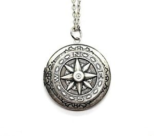 Handmade Oxidized Silver Compass Locket Necklace