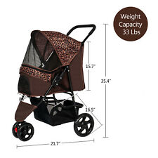 Pet Stroller Cat Dog Cage 3 Wheels Stroller Travel Folding Carrier Pet Supply