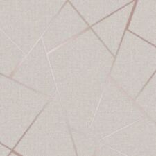 QUARTZ FRACTAL METALLIC WALLPAPER - BEIGE / ROSE GOLD FD42282 - FINE DECOR