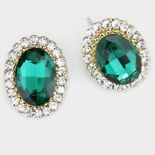 "0.75"" Green Emerald Gold Crystal Stud Earrings Pierced Post Pageant"