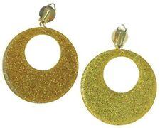 Earrings 60's 60s Gold Glitter Mod 70s 70's Fancy Dress