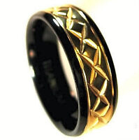 Gold Plated Engraved TITANIUM RING BAND with Black Plated Edges, size 14