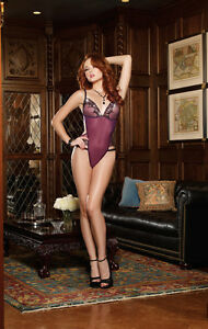 Plum Stretch Mesh with Spandex Teddy With Sequin Embroidered Trim. M,L