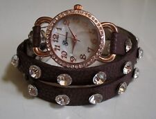 Brown/Rose Gold Wrap Around Bling Rhinestones Fashion Women's/Girl's Watch