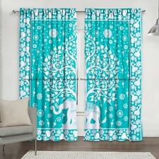 Green Cotton Elephant Mandala Window Indian Drape Hanging Curtain Set Home Decor