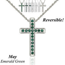 """Reversible Silver Austrian Crystal Birthstone Cross Necklace 18"""" Adj Chain - May"""