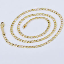 Yellow Gold Plated Womens Mens Vintage Punk Cuban Link Chain Necklace 3mm Thick