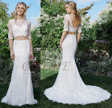 Two-Piece Lace Low V-Back Crop Top Skirt Long Wedding Bridal Gown Formal Dress