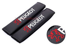 2x Car Auto Seat Safety Belt Pad Cover Shoulder Strap Cushion Logo For Peugeot