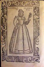 BRABANT/ BRABANTE. Donzella di Brabantia. Xilografía original .Vecellio, 1590