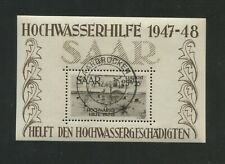 1948 SAAR Air Mail French Protectorate Stamp #CB1a Souvenir Sheet Canceled