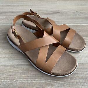 Cole Haan Womens Sz 8 Original Grand Sandal Pecan Brown Leather Slingback Shoes