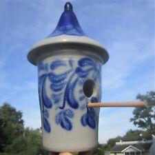 "David Eldreth Pa Salt Glazed Cobalt Blue Decorated Pottery 11"" Garden Bird House"