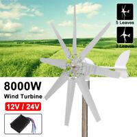 8000W Wind Turbine Genertor Kit 12/24V Aerogenerator 3/5/8 Blades w/