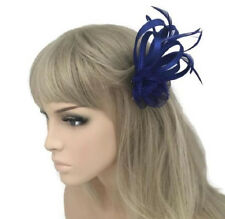 Elegant Royal Blue Flower Bow Fascinator Hair Clip Corsage Satin Sinamay
