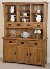 Cotswold Rustic Solid Oak Wood Large Welsh Dresser Cabinet Wall Unit Furniture