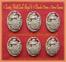 6 Christian Religious Dk Ivory Color ANGEL CHERUBS Shell Look 25mm x 18mm CAMEOS