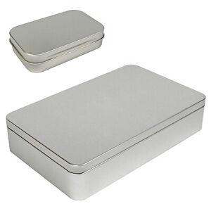 Large Silver Metal Rectangular Empty Tin Box Containers Storage Organization