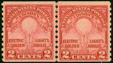 656 - 2c Edison Coil Line Pair Lightly Hinged