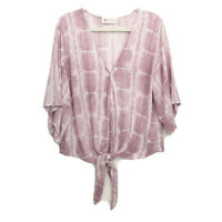 The Impeccable Pig Womens L Large Blouse Top White Pink Purple Tie Front Tie Dye