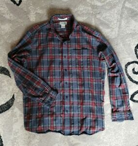 LL Bean Flannel Red Gray Green Plaid Long Sleeve Shirt Large