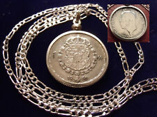 """1950 SWEDEN SILVER COAT OF ARMS KRONA COIN on a  26"""" 925 Silver Link Style Chain"""