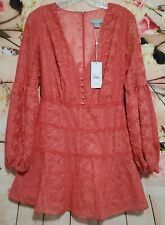 findersKEEPERS Womens Small Melon Color MAELLA V Neck Long Sleeve Mini Dress NWT