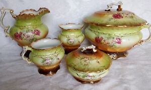 Antique RARE  French Semi Porcelain 6 pieces Chamber Set Roses and Gold FRANCE
