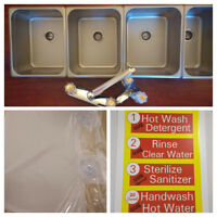 3 Large + 1 Hand Wash VALUE SET 4 Compartment Sink Set Portable Concession Sink