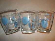 3 Rose Design Sour Cream Glasses