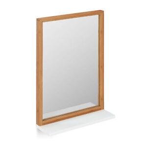 Wandspiegel Flurspiegel Bambus MDF Spiegel zum Aufhängen Badspiegel mit Ablage
