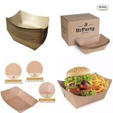 URPARTY - 250 Premium Brown Disposable Paper Food Serving Tray
