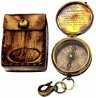 JD'Z COLLECTION Engraved Brass Boy Scout Compass with Leather Storage Case and