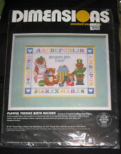 Dimensions Counted Cross Stitch Playful Teddies Birth Record Kit Unopened NIP
