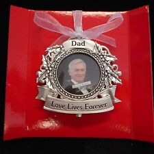"""NEW DAD Memorial Photo Ornament from Ganz, """"Love lives forever'"""