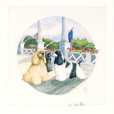 AMERICAN COCKER SPANIEL GOLDEN BLACK & WHITE DOG FINE ART LIMITED EDITION PRINT