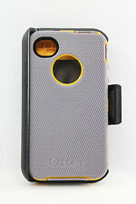 OtterBox Defender iPhone 4 4s Hard Case w Holster Belt Clip Gray Yellow USED