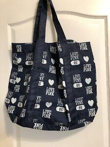 Large Victoria's Secret Love Pink Blue 86 Tote Bag, .